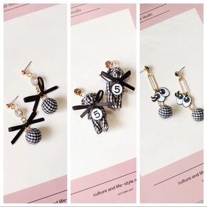"""✨2/$25✨NWT EARRINGS - """"CHECKERED FABRIC"""" 3 styles"""